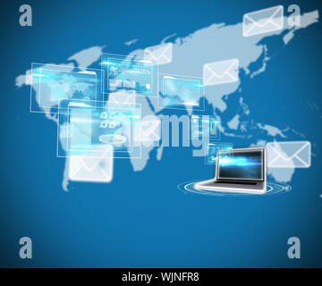 Business interfaces and laptop against world map with envelopes - Stock Photo
