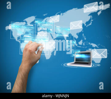 Hand presenting against world map with envelopes - Stock Photo