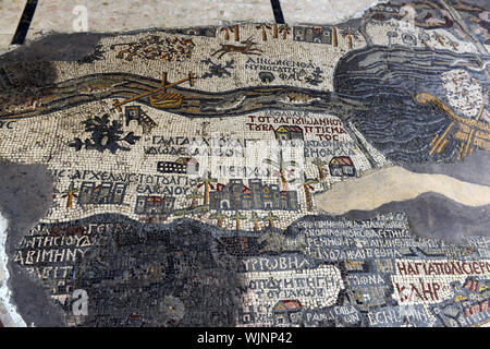 The Madaba map mosaic in St George church in Madaba, Jordan. - Stock Photo