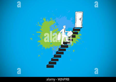 Career progression concept on paint splashes against blue background with vignette - Stock Photo