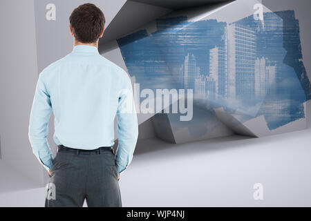 Businessman standing with hands in pockets against abstract screen in room showing technology interface - Stock Photo