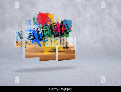 Composite image of idea on abstract screen against grey wall - Stock Photo