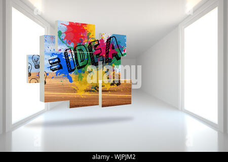 Idea on abstract screen against bright hall with windows - Stock Photo
