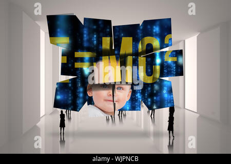 Baby genius on abstract screen against tiny figures in huge hall - Stock Photo
