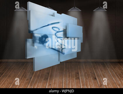 Idea on abstract screen against dark room with floorboards - Stock Photo