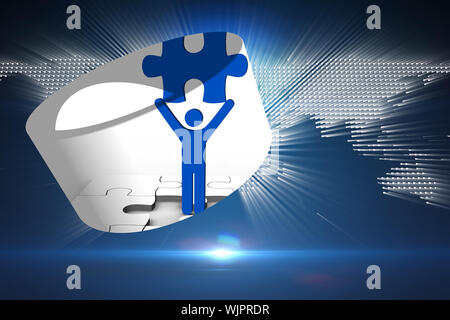 Figure holding jigsaw piece on abstract screen against glowing world map on black background - Stock Photo