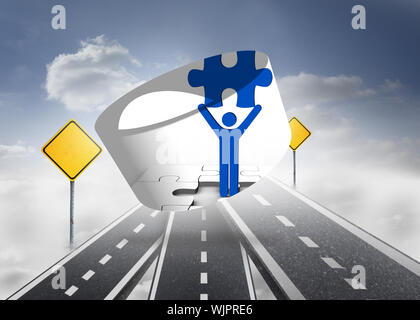 Figure holding jigsaw piece on abstract screen against road over clouds with road signs on it - Stock Photo