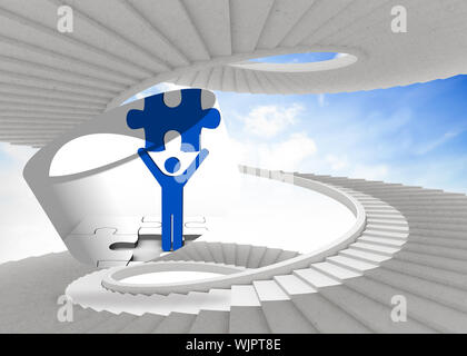 Figure holding jigsaw piece on abstract screen against spiral staircase in the sky - Stock Photo