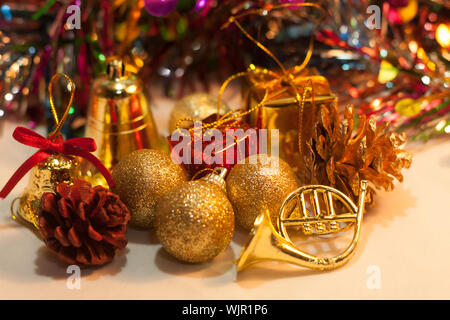 Close-up Of Christmas Decorations On Table - Stock Photo