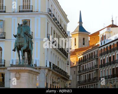 Equestrian Statue Of King Carlos Iii In Madrid - Stock Photo