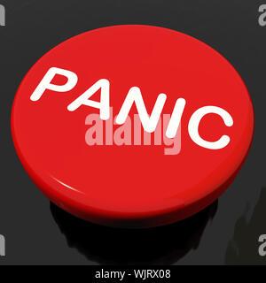 Panic Button Showing Anxiety Panicking Distress - Stock Photo