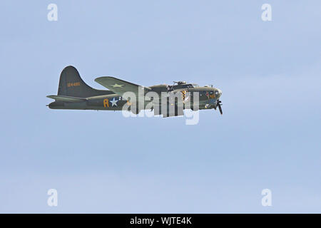 A surprise addition to Eastbourne's International Airshow in 2017 was the Sally B, a B-17 Flying Fortress. The plane used in the film Memphis Belle. - Stock Photo