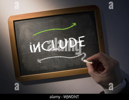 Hand writing the word include on black chalkboard - Stock Photo