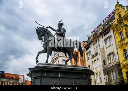 Low Angle View Of Ban Josip Jelacic Statue Against Buildings - Stock Photo
