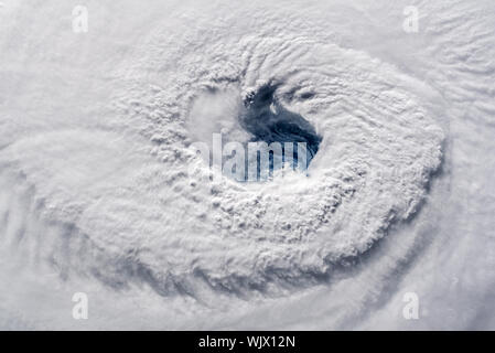 NASA International Space Station (ISS) view of the eye of Hurricane Florence photographed by astronaut Alex Gerst on September 12, 2018. - Stock Photo