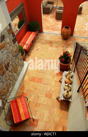 Courtyard of mediterranean villa in French Riviera - Stock Photo
