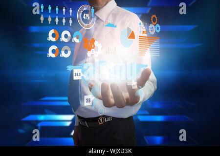 Digital composite of businessman presenting interface - Stock Photo