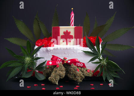 Marijuana With Cake And Canadian Flag - Stock Photo