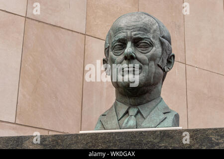 Montreal, Canada - 03 September 2019: René Lévesque bust at Hydro Quebec headquarters. - Stock Photo