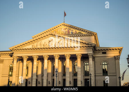 Image of the opera house in Munich at sunset - Stock Photo