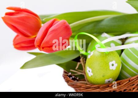 beautiful easter egg decoration colorfull eggs seasonal pastel - Stock Photo