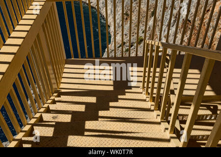 High Angle View Of Steps During Sunny Day - Stock Photo