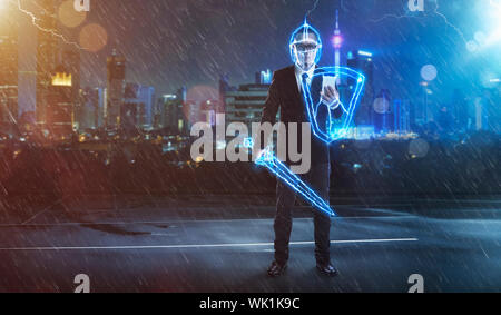 Digital Composite Image Of Businessman Holding Shield And Sword Against City During Rainfall - Stock Photo