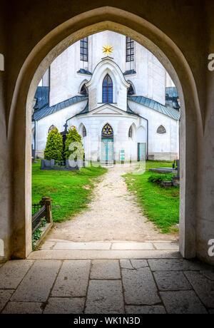 Entrance to St. John Nepomuk church, Moravia, Czech Republic - Stock Photo