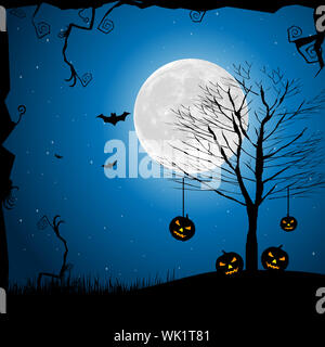 illustration of halloween night in graveyard with glowing pumpkin - Stock Photo