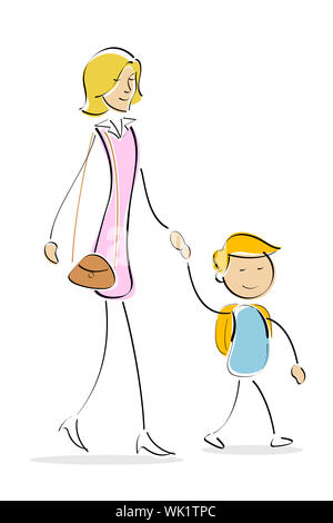 illustration of mother and son going to school on white background - Stock Photo