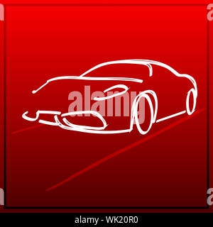 illustration of car icon in sketch look on bright gradient background - Stock Photo