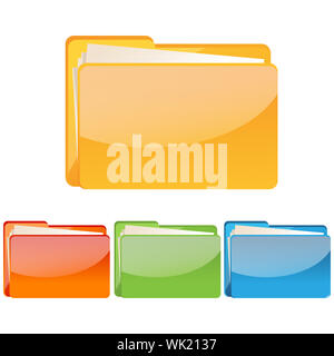 illustration of set of colorful folder icon on an isolated background - Stock Photo