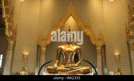 the amazing solid gold buddha in bangkok, thailand - Stock Photo
