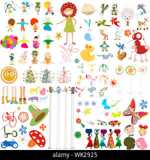 Decorative cartoon characters collection, design elements over white background - Stock Photo