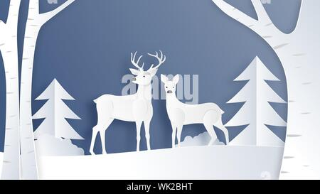Love couple of deer in winter field with pine tree and branches in paper cut style. Creative vector illustration Christmas celebration. Backdrop, Post - Stock Photo