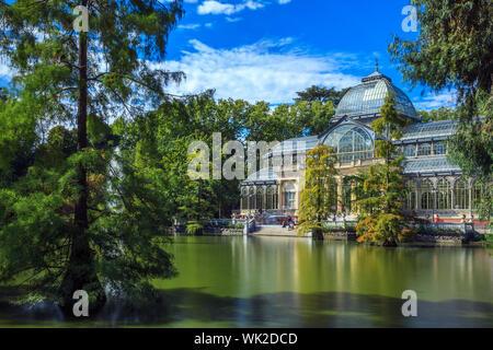 Famous Crystal Palace in Retiro Park,Madrid, Spain. - Stock Photo