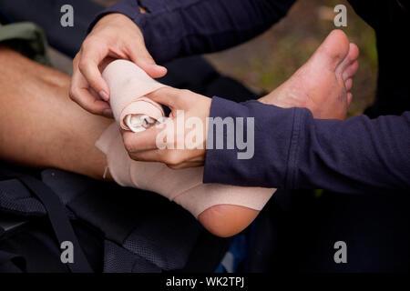 Ankle Tensor Bandage - Stock Photo