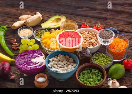 seeds, food, vegan written, diabetes, vegan food, whole grains legumes, nutrients, fresh vegetables, ph balance, diet - Stock Photo