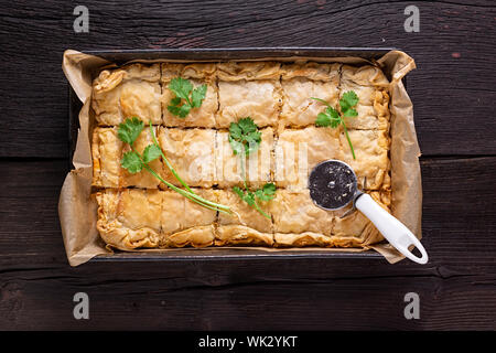 tourtiere, chinese, ground beef, doornail shape, scallion ginger, dough, recipes, keto spicy, cilantro butter,, ginger cilantro - Stock Photo
