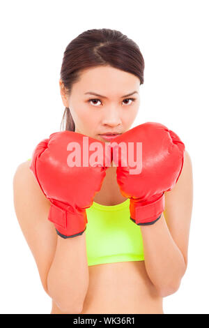 Boxing fitness woman concentrating and protecting pose - Stock Photo