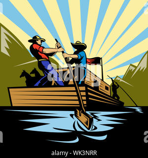 Illustration of a Cowboy man steering flatboat along river - Stock Photo