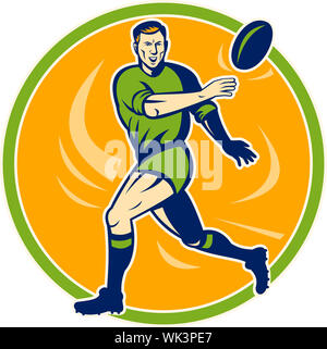 illustration of a Rugby player running and passing ball - Stock Photo