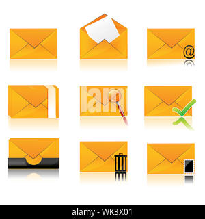illustration of collection of different folder icons - Stock Photo