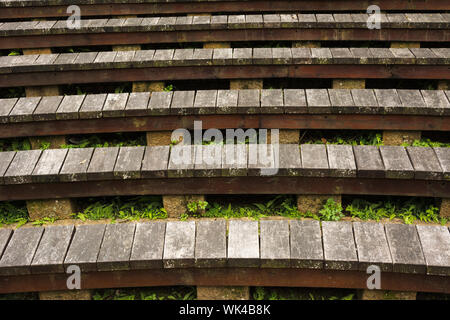 Wooden stairs with nobody in outdoors. - Stock Photo