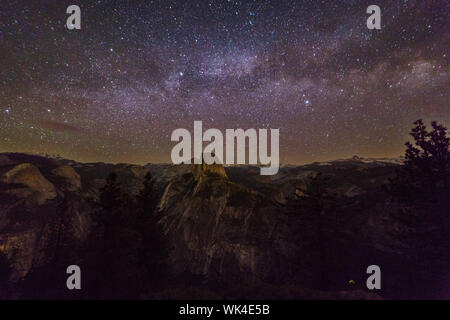 Idyllic Shot Of Milky Way Over Rock Formation At Yosemite National Park - Stock Photo