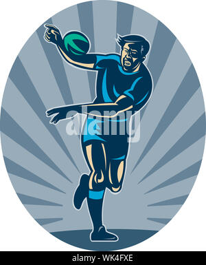 illustration of a Rugby player running with ball and passing - Stock Photo