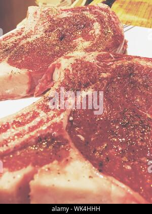 Seasoned Rib Eye Steaks - Stock Photo