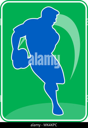 illustration of a rugby player running passing ball - Stock Photo