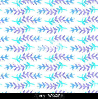 Watercolor seamless floral pattern of blue and violet lavender flowers, twigs and branches, hand drawn paint surface design pattern in pastel colors - Stock Photo