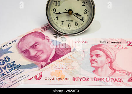The highest money denominations of the republic of turkey. close up two hundred turkish lira banknotes - Stock Photo